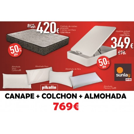 pack abatible polipiel + colchon muelle ensacado
